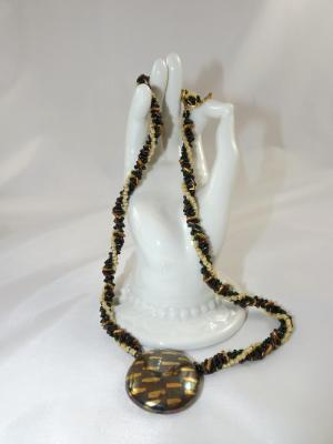N-129 Dark Green & Gold Kazuri Focal Bead Necklace
