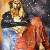 "Samish Island Girl ~ Watercolor Batik 18"" x 24"""