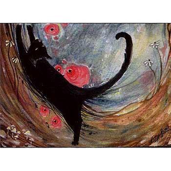 Black Cat art print from the original painting by Liza Paizis