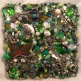 Green Beaded Square - Unframed - Sold