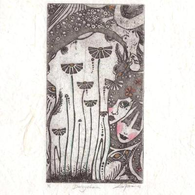 Daisy Chain Limited Edition Etching of Dasiy Fairies and flowers SALE