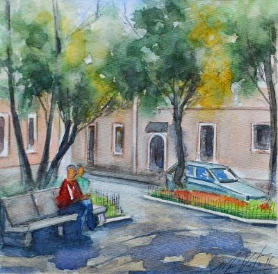 Watercolor plein air painting of San Marcos square, 30cm x 30cm, 2018