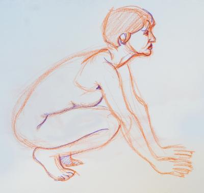 Raquel, Crouching Nude