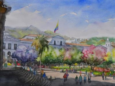 The Presidential Palace in Quito, 35cm x 50cm, 2017