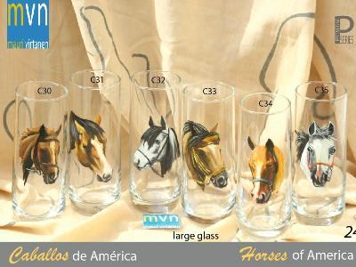 Set of Handpainted glasses: HORSES OF AMERICA