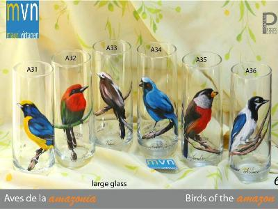 set of handpainted glasses: BIRDS OF THE AMAZON