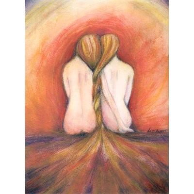 the Fire friendship art picture from original painting by Liza Paizis