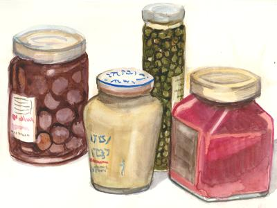 Olives, Mustard, Capers, Jam