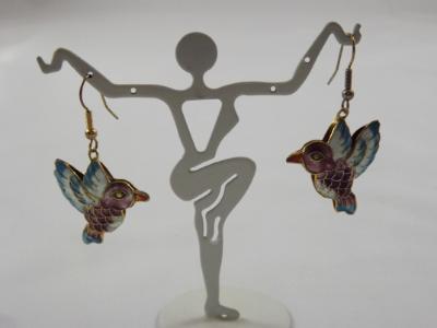 E-78 Cloissone Hummingbird Bead Earrings