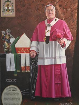 Oil portrait of Archbishop FAUSTO TRAVEZ, 170cm x 100cm, 2013