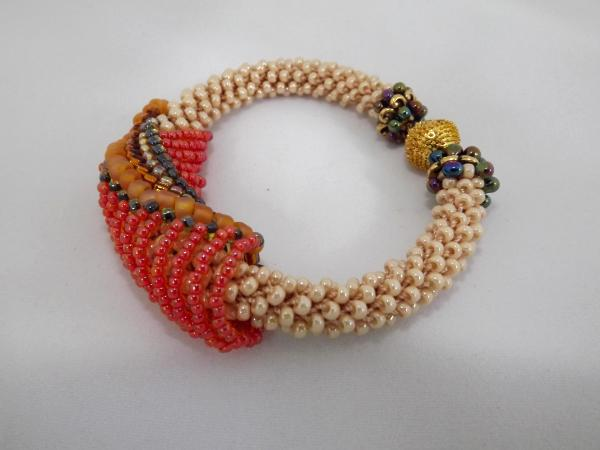 B-53 pearly ecru crocheted rope bracelet with beaded slide