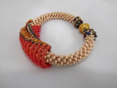B-53 pearly ecru crocheted rope bracelet with beaded slide