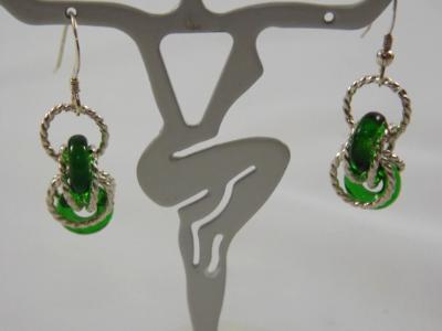 E-91 Green Glass Donut & Sterling Earrings