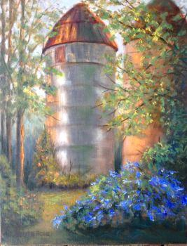 Silos at Bernhim forest 12x16 panel in oils