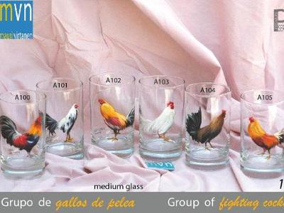 Set of hand painted glasses: GOUPR OF FIGHTING COKS