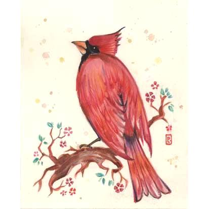 Cardinal original watercolor painting cardinal bird art