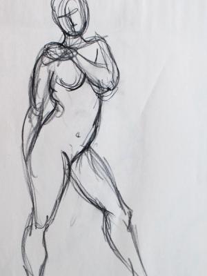 Standing female gesture (hand on shoulder)