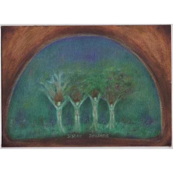 Sister Seasons original oil painting of sisiters trees and four seasons