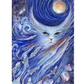 Cat's Dreamland art print from original watercolor cat painting by Liza Paizis