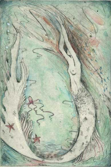 Little Mermaid Limited Edition Etching : drypoint handcolored