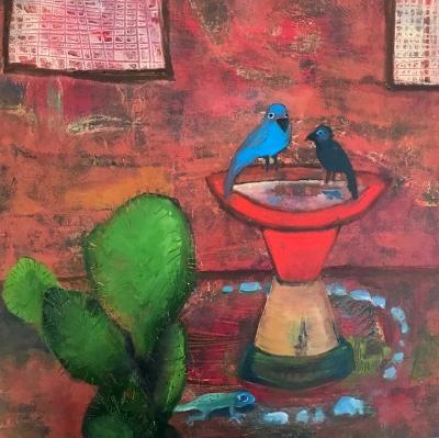 """Yard Birds  18""""x18"""""""