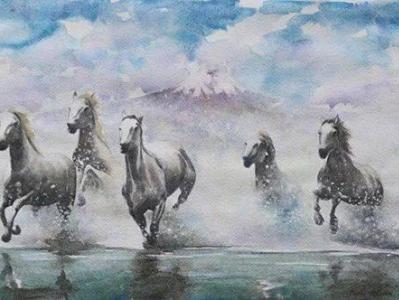 Mystic horses, 35cm  x 50cm, 2014