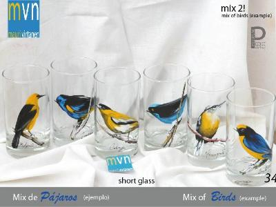 Set of handpainted glasses: MIX OF BIRDS