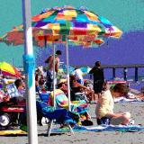 Multi-colored beach umbrella