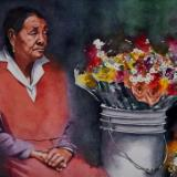 Portrait of a street flowers seller, 38cm x 56cm, 2019