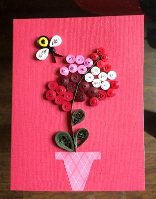 Quilling greeting cards artistic creations by gay dallek pink flowerpot quilled greeting card m4hsunfo