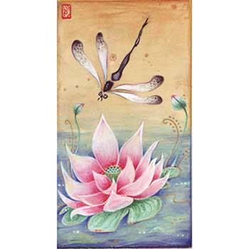 Awakening original dragonfly painting zen dragonfly art