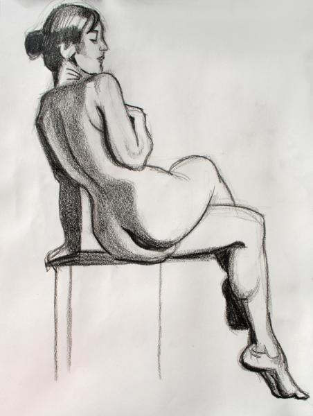 Seated Female Nude, Legs Crossed