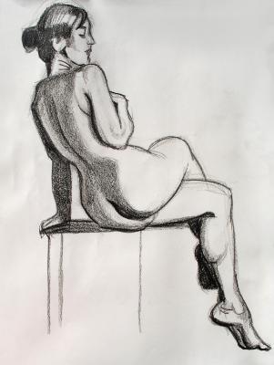 Seated Female Nude, Legs Crossed