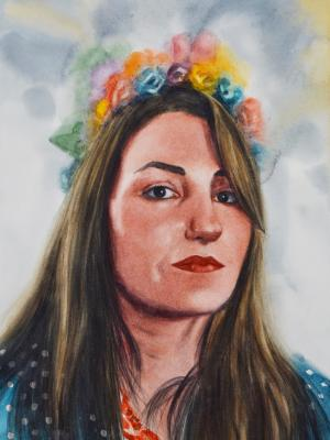 Custom portrait of the girl with the flowers crown, 35cm x 50cm, 2019