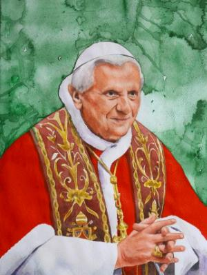 Portrait of Pope BENEDICT XVI, 80cm x 60cm, 2104