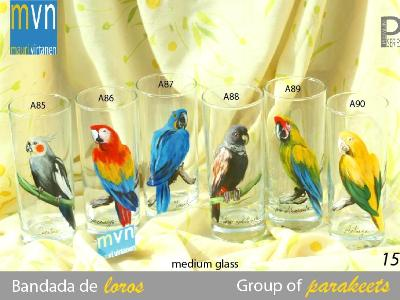 Set of Handpainted glasses: GROUP OF PARAKEETS