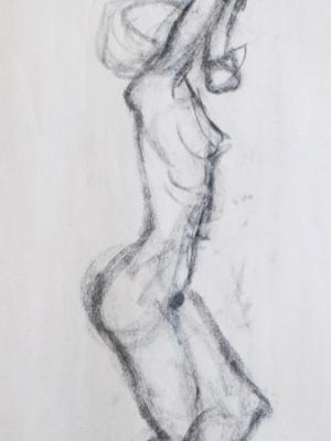 Female Nude Gesture, Arms Bent