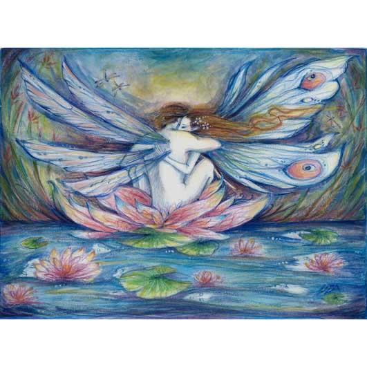 The Lillypond Original Fairy Lovers Painting in Watercolors