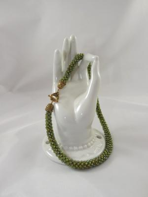 N-97 Olive Green AB Crocheted Rope Necklace
