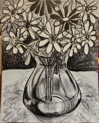 Grayscale Daisies in Pastel