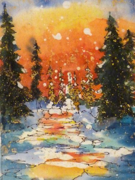 "Winter Sunset 5"" x 7"" Watercolor Batik on Rice Paper"