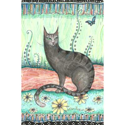 Black cat with butterfly original folk art whimsical cat painting
