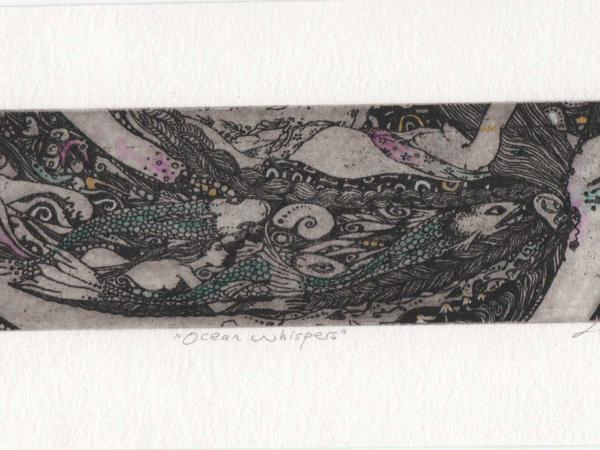 Ocean Goddess limited edition etching mermaid with fish ocean goddess print