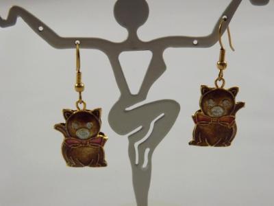 E-76 Cloissone Cat Earrings