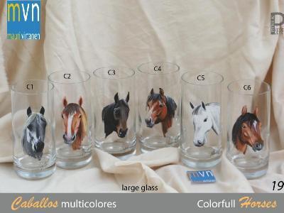 Set of handpainted glasses: COLORFULL HORSES