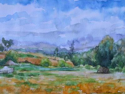 Plein air watercolor views of Mulalo 2, 35cm x 50cm, 2016