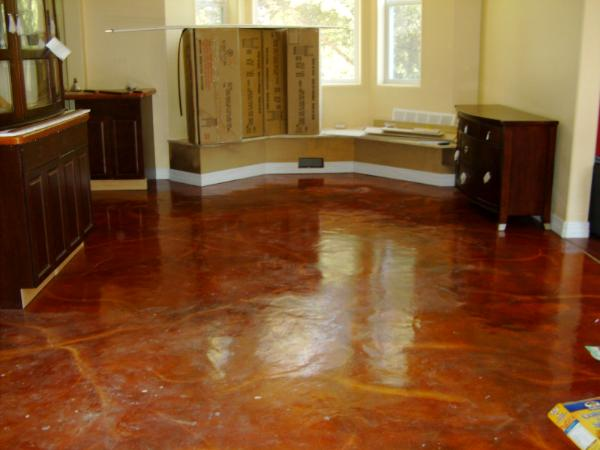 Kitchen Floor Stained Concrete High Gloss Epoxy Art