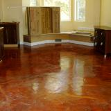 Kitchen floor, stained concrete, high gloss epoxy