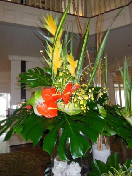 Tropical Floral Decoration With Large Monstera Leaves