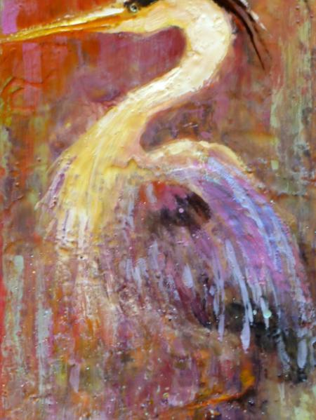 """Heron in wax ~ 12"""" x 24"""" 175.00"""